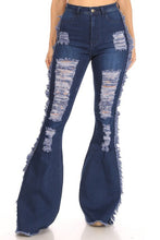 Load image into Gallery viewer, Fringe and Flare Distressed Jeans