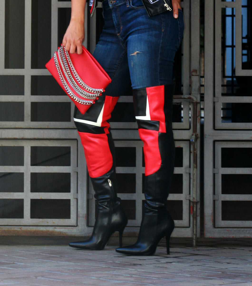 Color Block Over The Knee Boots