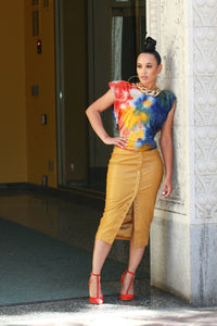 Hot Mustard Vegan Leather Pencil Skirt