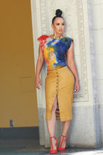 Load image into Gallery viewer, Hot Mustard Vegan Leather Pencil Skirt