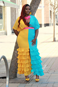 Color Block Ruffle Mermaid Dress - Curvy Brat