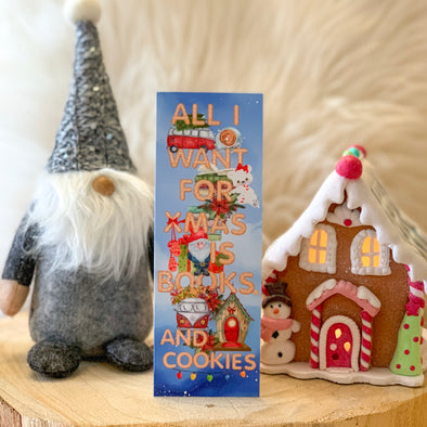 "Christmas ""books and cookies"" bookmark"