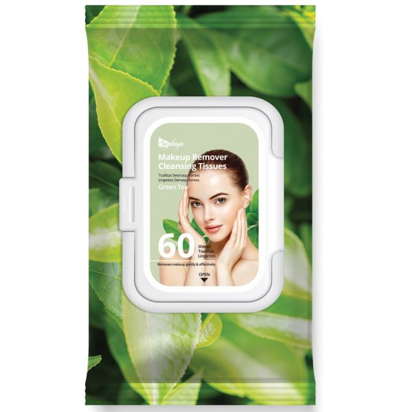 Green Tea Makeup Remover Cleansing Tissues (60 Sheets)