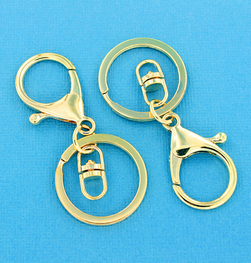 Gold Tone Key Rings With Swivel and Lobster Clasp - 68mm x 30mm - 4 Pieces - FD007