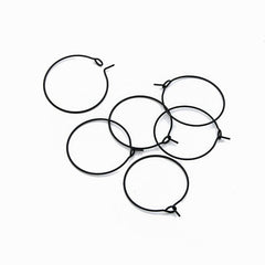 Gunmetal Stainless Steel Earring Wires - Wine Charms Hoops - 25mm - 10 Pieces - FD925