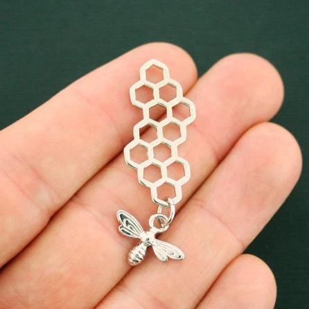 4 Honeycomb Bee Silver Tone Charms 2 Sided - SC6237