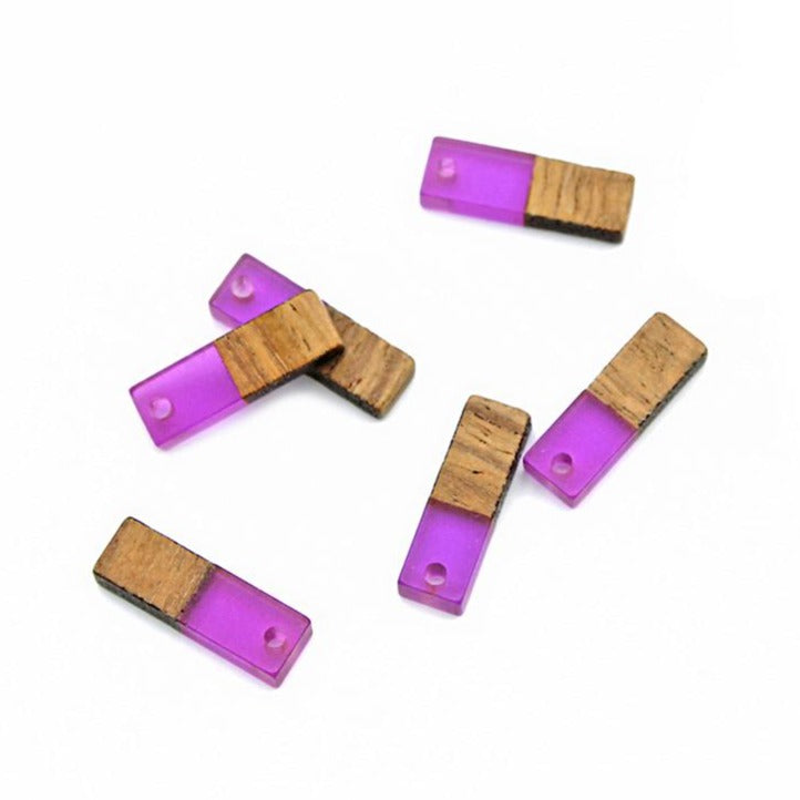4 Rectangle Natural Wood and Purple Resin Charms 20mm - WP039