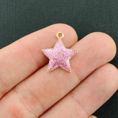 5 Star Gold Tone Enamel Charms - E695