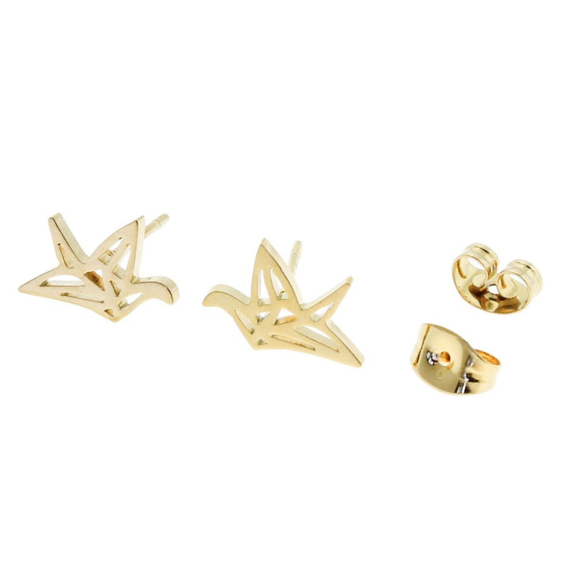 Gold Stainless Steel Earrings - Origami Crane Studs - 12mm x 8mm - 2 Pieces 1 Pair - ER121