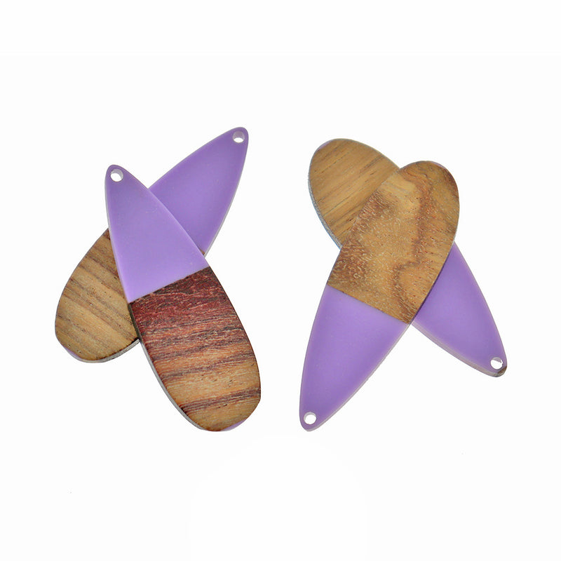 Drop Natural Wood and Purple Resin Charm - Z1350