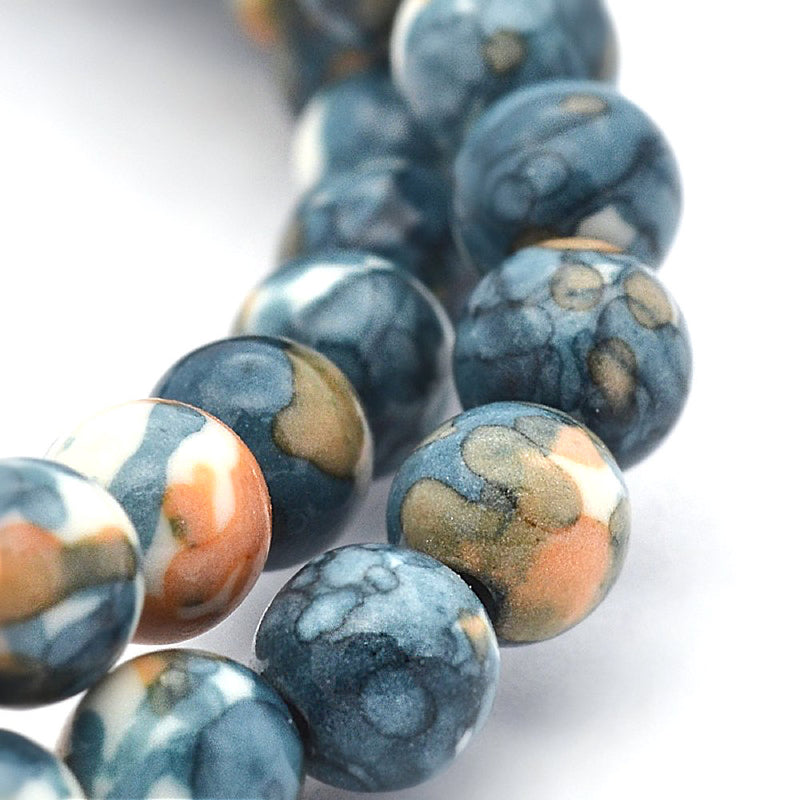 Round Synthetic Jade Beads 8mm - Navy and Sand - 20 Beads - BD850