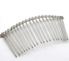 Silver Tone Hair Combs - 78mm x 88mm - 4 Pieces - Z001