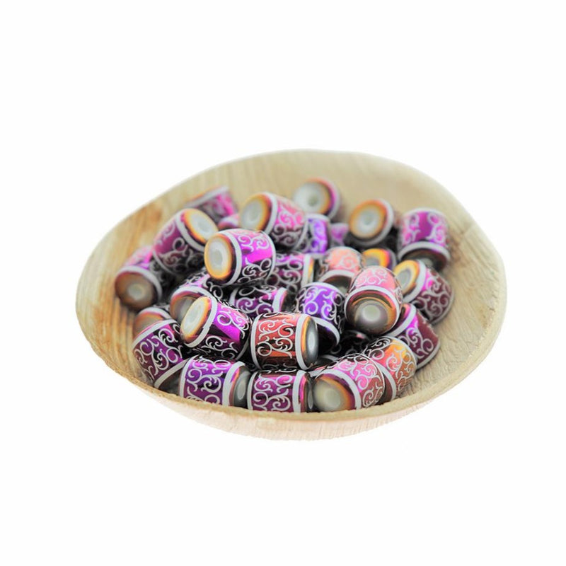 Barrel Glass Beads 12mm - Purple Electroplated Vine Pattern - 12 Beads - BD2541