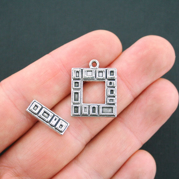SALE Square Silver Tone Toggle Clasps 22mm x 17mm - 4 Sets 8 Pieces - SC4806