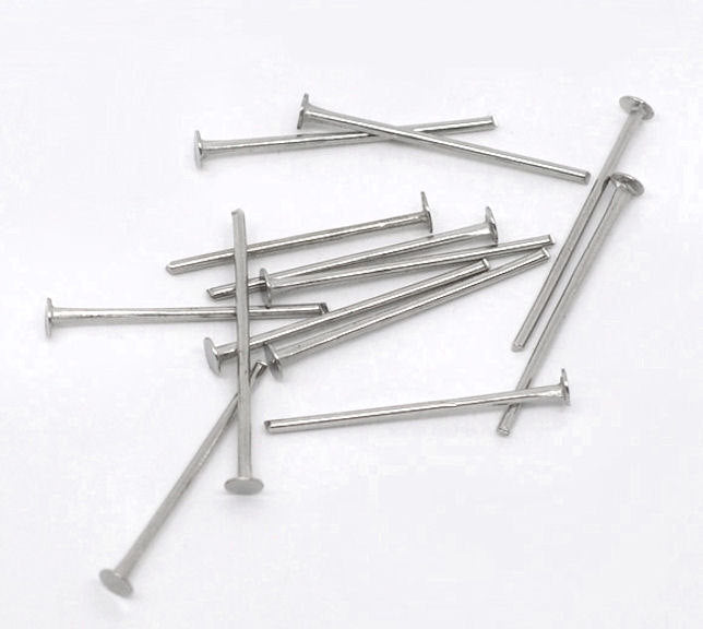 Antique Silver Tone Flat Head Pins - 20mm - 700 Pieces - PIN24