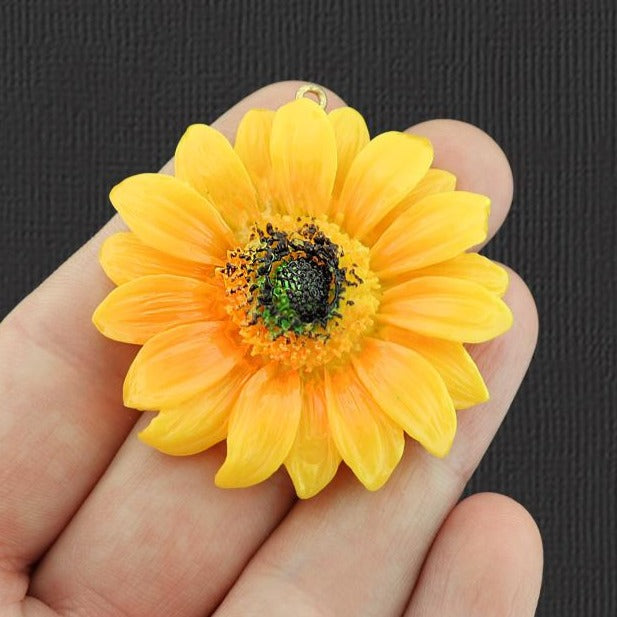 Sunflower Resin Silver Tone Charm - K342