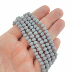 Faceted Glass Beads 6mm - Storm Grey - 1 Strand 93 Beads - BD1940