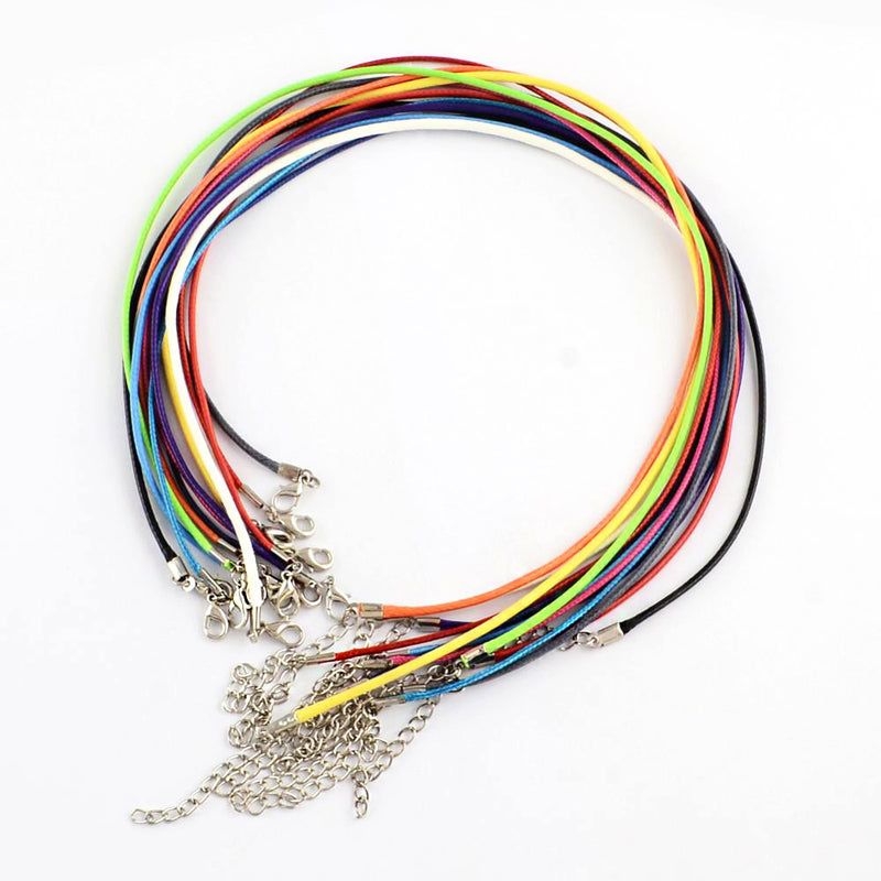"Wax Cord Necklaces in Assorted Colors 18.7"" - 2mm - 10 Necklaces - N231"