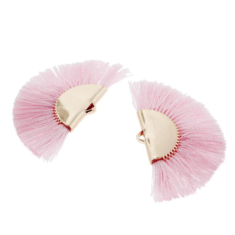Fan Tassels - Gold Tone and Baby Pink - 2 Pieces - Z1009