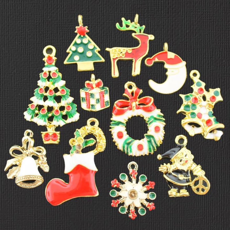 Christmas Charm Collection Gold Tone Enamel 11 Different Charms - COL368