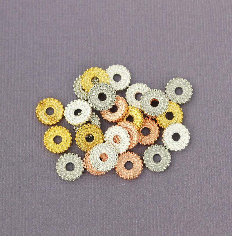 Washer Spacer Metal Beads 2mm x 9.5mm - Assorted Silver, Gold and Rose Gold Tone - 50 Beads - FD227