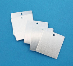 Rectangle Stamping Blanks - Silver Aluminium - 28.8mm x 25.5mm - 10 Tags - MT272