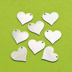 Heart Stamping Blanks - Silver Anodized Aluminum - 27mm x 25mm -10 Tags - MT378