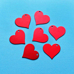 Heart Stamping Blanks - Red Anodized Aluminum - 25mm x 27mm - 10 Tags - MT385