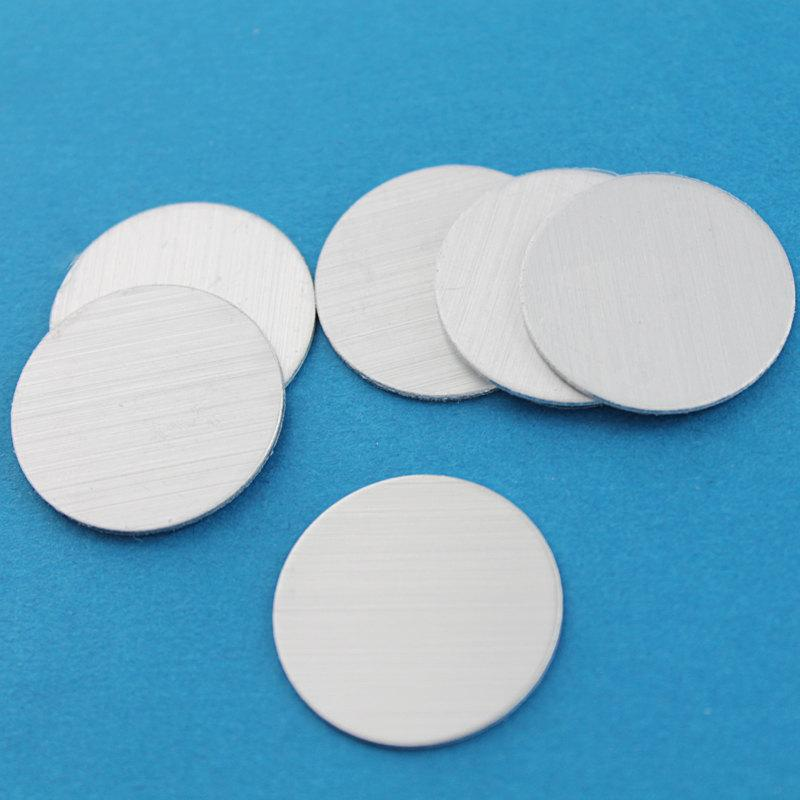 "Circle Stamping Blanks - Silver Brushed Aluminum - 1"" - 10 Tags - MT037"