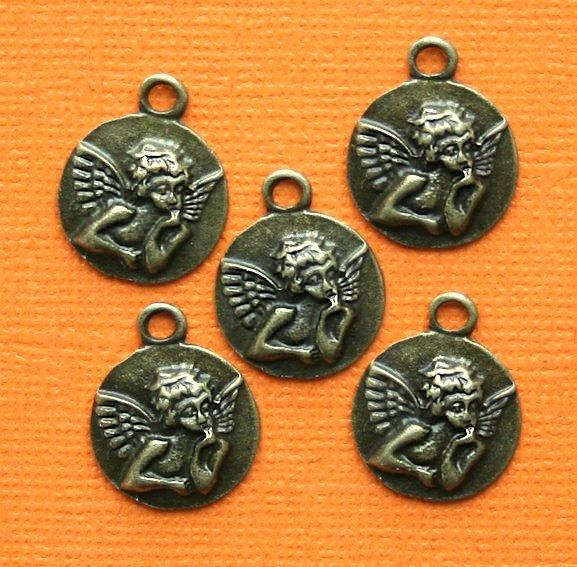 10 Purse Charms Antique Silver Tone 2 Sided SC3634