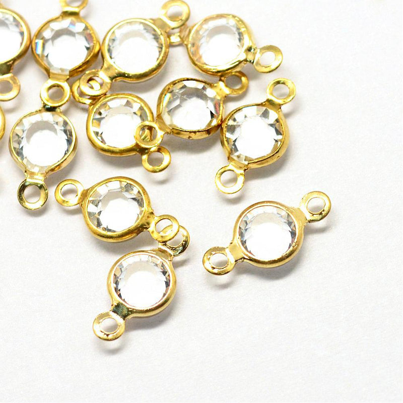 10 April Birthstone Gold Tone Charms - Connector - DBD580