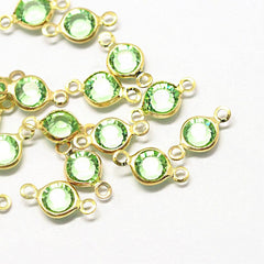 10 August Birthstone Gold Tone Charms - Connector - DBD578