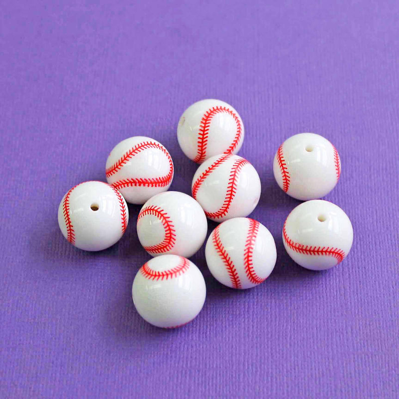 Round Acrylic Beads 20mm - Red and White Baseball - 10 Beads - K038