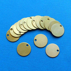 Circle Stamping Blanks - Copper Tone Brass - 17.5mm - 10 Tags - MT335