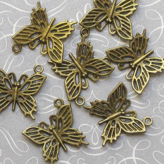10 Butterfly Antique Bronze Tone Charms - BC008
