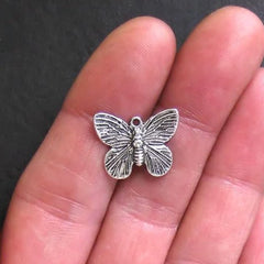 10 Butterfly Antique Silver Tone Charms 2 Sided - SC318