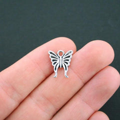 10 Butterfly Antique Silver Tone Charms - SC4746