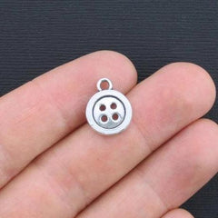 10 Button Antique Silver Tone Charms 2 Sided - SC2792