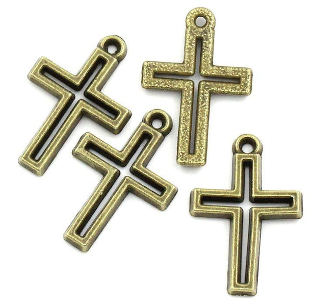 10 Cross Charms Antique Gold Beautiful Beaded Edges GC042