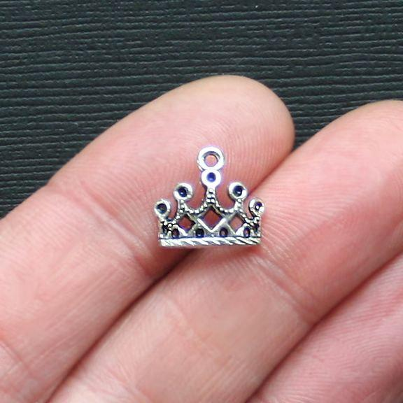 10 Crown Antique Silver Tone Charms - SC2882