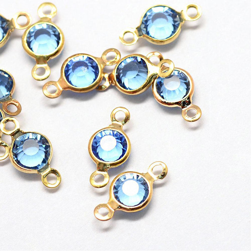 10 December Birthstone Gold Tone Charms - Connector - DBD583