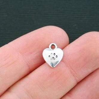 6 Paw Print Charms Silver Tone 2 Sided SC7545