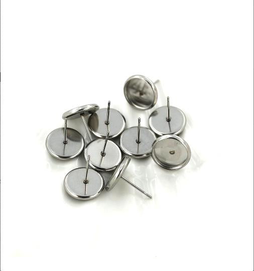 10 Pairs Earring Posts Cabochon Silver Tone with Stopper FD065