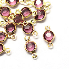 10 February Birthstone Gold Tone Charms - Connector - DBD574