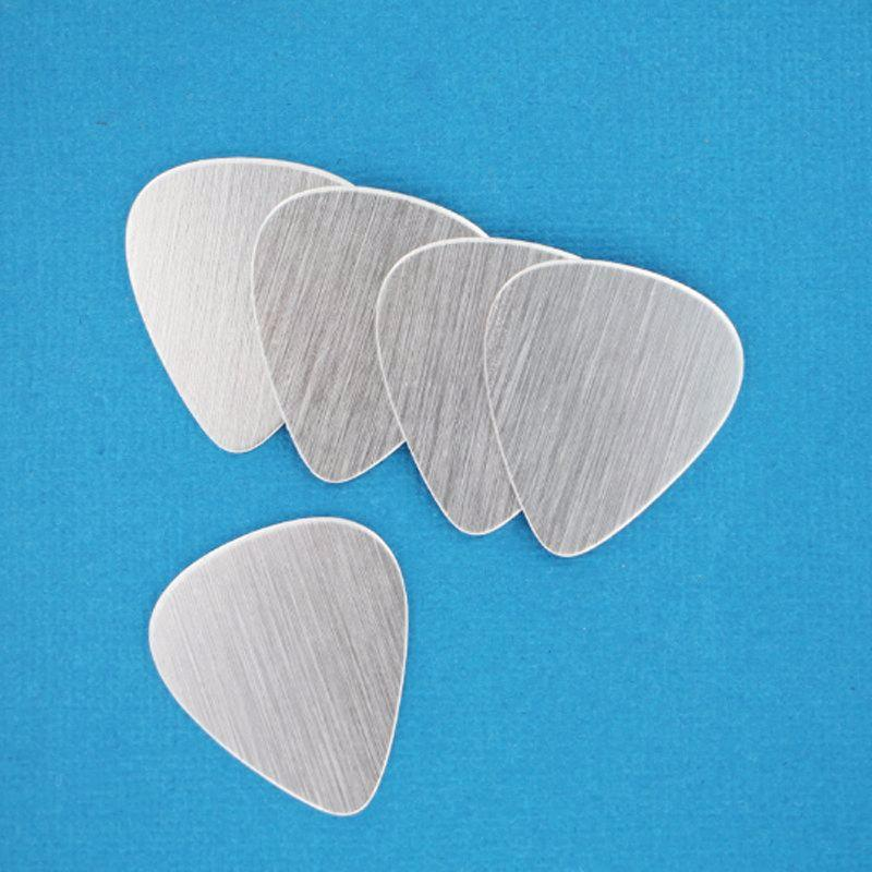 Guitar Pick Stamping Blanks - Silver Anodized Aluminum - 28mm x 25mm - 10 Tags - MT278