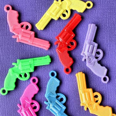 10 Gun Acrylic Charms Assorted Colors 2 Sided - K111