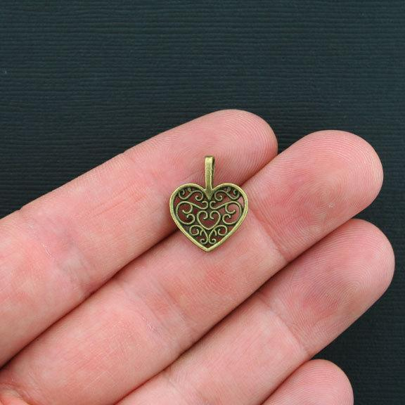 BC970 10 Heart Charms Antique Bronze Tone Classic Design