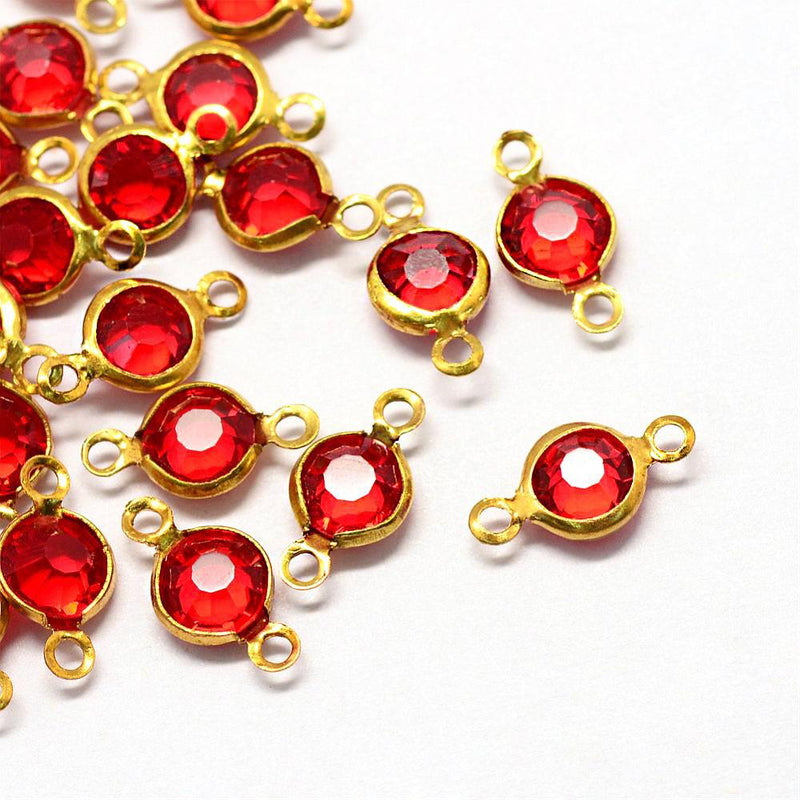 10 July Birthstone Gold Tone Charms - Connector - DBD581