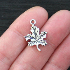 10 Leaf Antique Silver Tone Charms - SC2759
