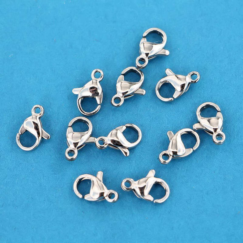 Stainless Steel Lobster Clasps 9.5mm x 5.5mm - 10 Clasps - FF239